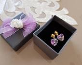 Valentine Present, Heart Stud Earrings, Swarovski Jewelry, Crystal Earrings, Violet Iridescent Earrings, Birthday Gift Her, Anniversary Gift
