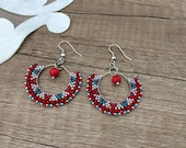 Beaded Hoop Earrings, Coral Boho Jewelry, Fan Earrings, Hippie Gypsy Festival Earrings, Bridesmaid Dangle, Delicate Jewelry, Gift for Her