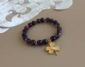Amethyst Bracelet, Clover Lucky Jewelry, Healing Meditation Bracelet, Violet Stretch Bracelet, Natural Gemstone Protection Jewelry, Gift Her