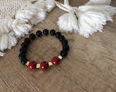 Beaded Onyx Bracelet, Elastic Gemstone, Black Matte Onyx, Coral Bracelet, Healing Jewelry, Boho Chic Bracelet, Birthday Gift For Girlfriend