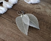 Real Leaf Earrings, Woodland Jewelry, Silver Dipped Leaves, Oversized Earrings, Wedding Jewelry, Natural Dangle Earrings, Birthday Gift Her