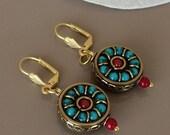 Tribal Dangle Boho Earrings, Unique Gift Her, Tibetan Jewelry, Ethnic Earrings, Round Drop Dangle, Nepal Gypsy Earring, Turquoise Coral Drop