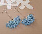 Fan Earrings, Lace Jewelry, Boho Delicate Earrings, Textile Earrings, Long Chain Dangle, Spring Summer Jewelry, Dainty Birthday Gift For Her