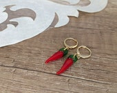 Food Earrings, Red Glass Dangle, Miniature Food Jewelry, Hot Chili Pepper Earrings, Lampwork Earrings, Gift For Foodie, Unique Gift For Her