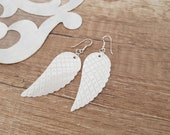 Angel Wing Earrings, Carved Shell Earrings, Large White Dangle, Mother of Pearl Jewelry, Sterling Silver Boho Dangle, Birthday Gift For Her