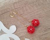 Beaded Ball Earrings, Coral Long Earrings, Boho Sphere Jewelry, Gold Chain Dangle, Gemstone Earrings, Birthday Gift For Her, Christmas Gift