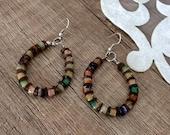Beaded Hoop Earrings, Bohemian Festival Jewelry, Colorful Earrings, Boho Glass Earrings, Earthy Jewelry, Big Round Dangle, Birthday Gift Her