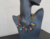 Beaded Geometric Necklace, Boho Jewelry, Artisan Necklace, Statement Choker, Rainbow Necklace, Colorful Bead Jewelry, Short Choker, Gift Her