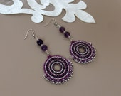 Beaded Hoop Disc Earrings, Big Circle Dangle, Swarovski Crystal Boho Chic Jewelry, Fan Earrings, Amethyst Purple Earrings, Birthday Gift Her