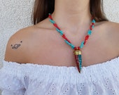 Tibetan Tribal Necklace, Ethnic Horn Pendant, Turquoise Coral Inlay Jewelry, Gemstone Mozaic Boho Pendant, Nepalese Brass Gypsy Jewelry