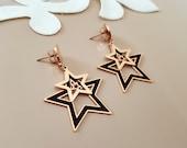 Star Earrings, Celestial Jewelry, Push Back Dangle Earrings, Rose Gold Stud Dangle, Double Star Earrings, Mother's Day Gift, Gift Girlfriend