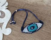 Beaded Evil Eye Bracelet, Protection Jewelry, Birthday Gift Her, Handcrafted Boho Bracelet, Best Friend Gift, Woven Bracelet, Amulet Gift