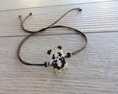 Anklet Body Bracelet, Animal Jewelry, Panda Bracelet, Adjustable Beaded Bracelet, Peyote Body Accessory, Beadwork Jewelry, Minimalist Gift