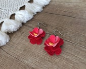 Crochet Drop Earrings, Flowers Dangle Earrings, Crochet Jewelry, Cotton Boho Dangling, Bridesmaid Gift, Red Blossom Earrings, Christmas Gift