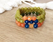 Beaded Semi Precious Stone Bracelet, Stacking Bracelet Set, Boho Chic Jewelry, Green Jade Stretch Bracelet, Women Gift, Birthday Summer Gift