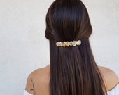 Citrine Pearl French Clip, Barrette Hair Clip, November Birthstone, Bridal Hair Holder, Raw Gemstone Hair Accessories, Natural Hair Jewelry