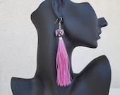 Dangle Tassel Earrings, Festival Boho Jewelry, Fringe Earrings, Pink Glass Earrings, Long Dangling, Bohemian Jewelry, Unique Birthday Gift