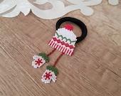 Seed Bead Christmas Hair Tie For Girls, Xmas Elastic Ponytail Holder, Miniature Hat Gloves, Noel Gift For Little Girls, Cute Hair Elastic