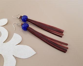 Leather Fringe Earrings, Tassel Earrings, Boho Leather Jewelry, Hippie Western Earrings, Beaded Long Dangle, Birthday Gift Her, BFF Gift
