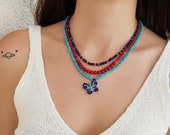 Beaded Butterfly Necklace Ring, Turquoise Coral Lapis Jewelry Set, Animal Gemstone Jewelry, Multi Strand Boho Necklace, Unique Women Gift