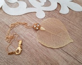 Real Leaf Necklace, Nature Wedding Jewelry, Natural Leaf Pendant, Gold Long Necklace, Woodland Jewelry, Large Pendant, Unique Gift For Her