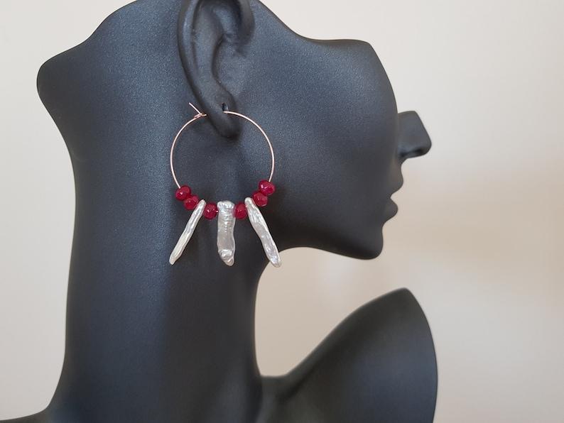 Freshwater Pearl Hoop Earrings Baroque Earrings Ivory Ear image 0