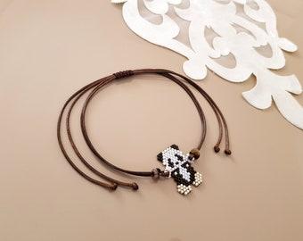 Anklet Body Bracelet, Panda Bracelet, Animal Jewelry, Adjustable Beaded Anklet, Peyote Body Accessory, Beadwork Jewelry, Minimalist Gift