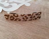 Leopard Hair Clip Beaded Barrette, Animal Print Hair Accessory, Beadwork Hair Jewelry, Rectangular Long French Clip