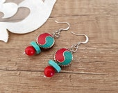 Yin Yang Earrings, Dangle Round Earrings, Tibetan Jewelry, Coral Turquoise Dangle, Tribal Boho Earring, Ethnic Women Gift, Birthday Gift Her