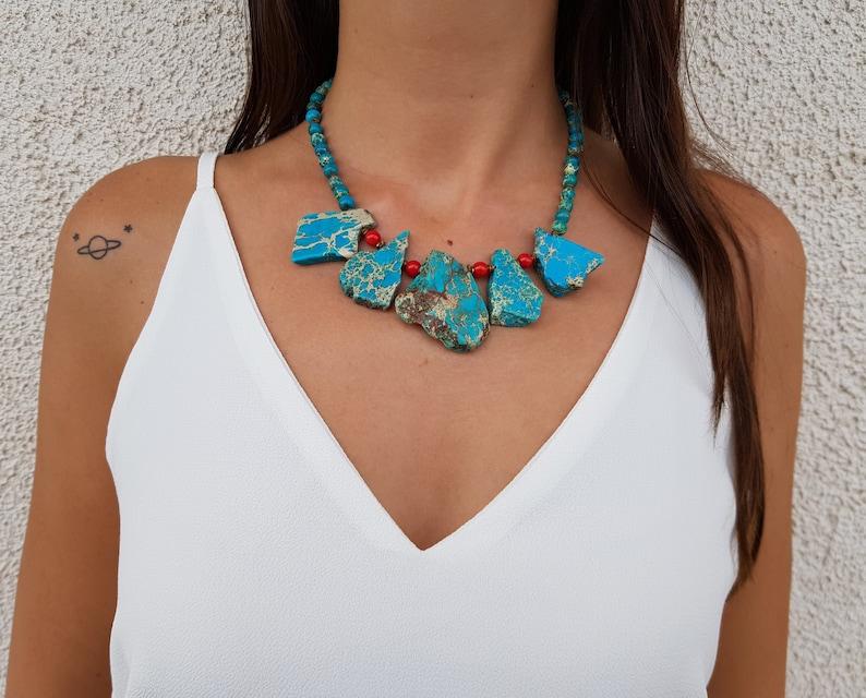 Boho Raw Stone Necklace Statement Jewelry Navajo Turquoise image 0