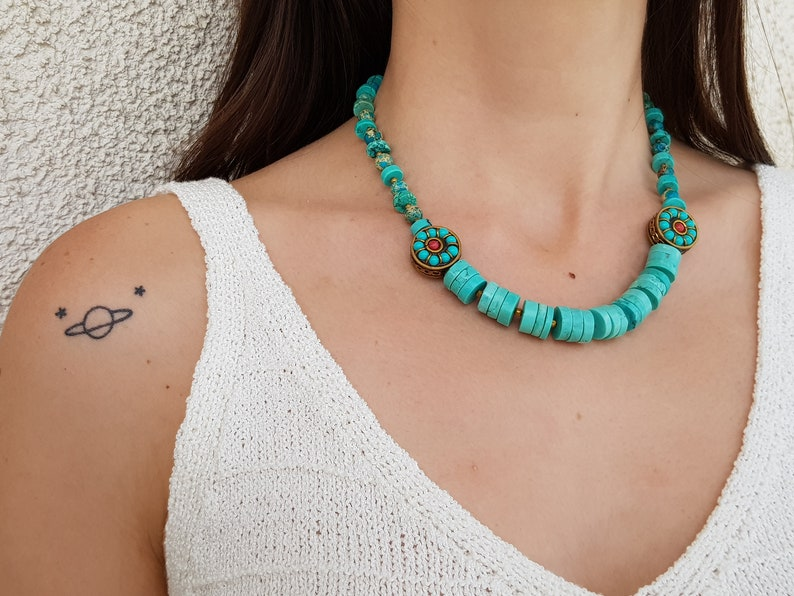 Navajo Turquoise Necklace Southwestern Jewelry Set Tribal image 0