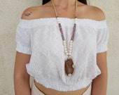 Raw Stone Necklace, Pearl Jewelry, Slice Agate Pendant, Long Necklace, Statement Bohemian Necklace, Gift For Girlfriend, Gift For Sister