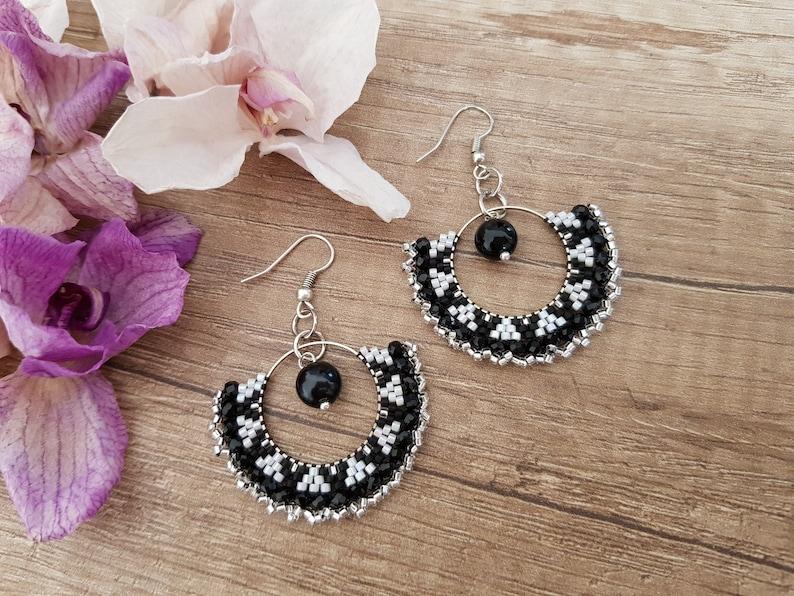 Black White Hoop Earrings Bead Ear Hoops Onyx Jewelry Black