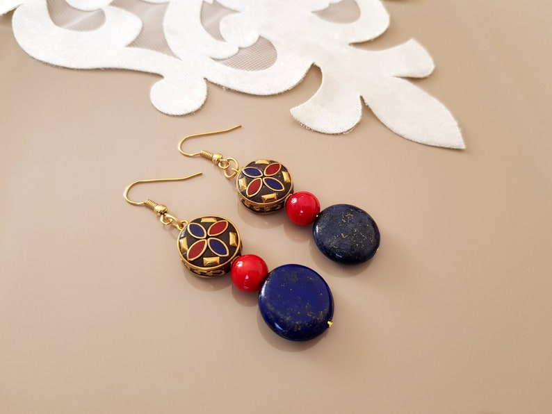 Bohemian Earrings Tibetan Jewelry Dangle Gemstone Lapis image 1