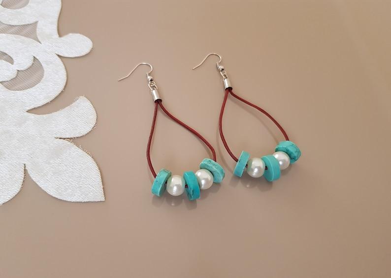 Leather Hoop Earrings Turquoise Jewelry Beaded Teardrop image 0