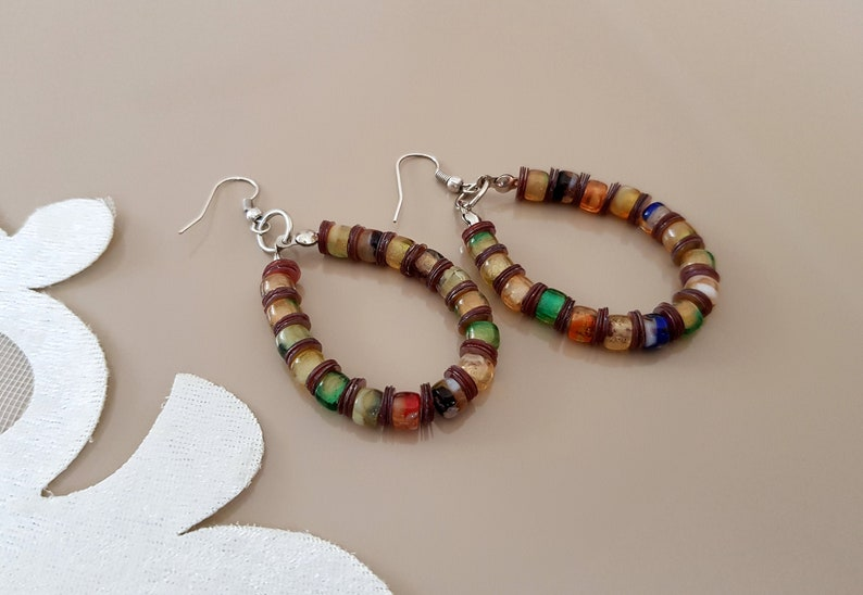 Beaded Hoop Earrings Bohemian Festival Jewelry Colorful image 0