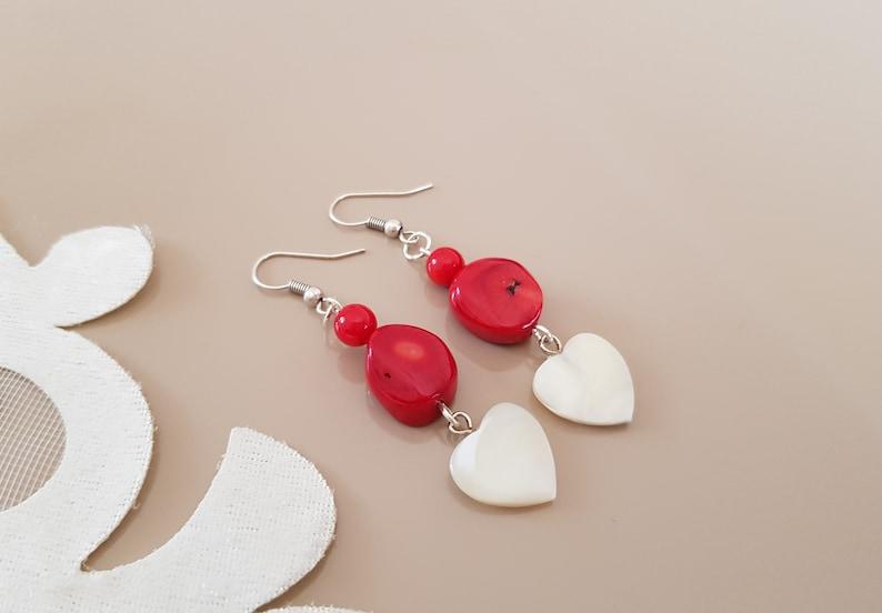 Raw Stone Earrings Gemstone Jewelry Coral Earrings Shell image 0
