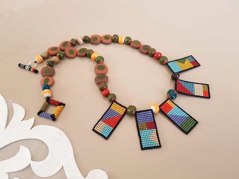Beaded Geometric Necklace Boho Jewelry Artisan Necklace image 0