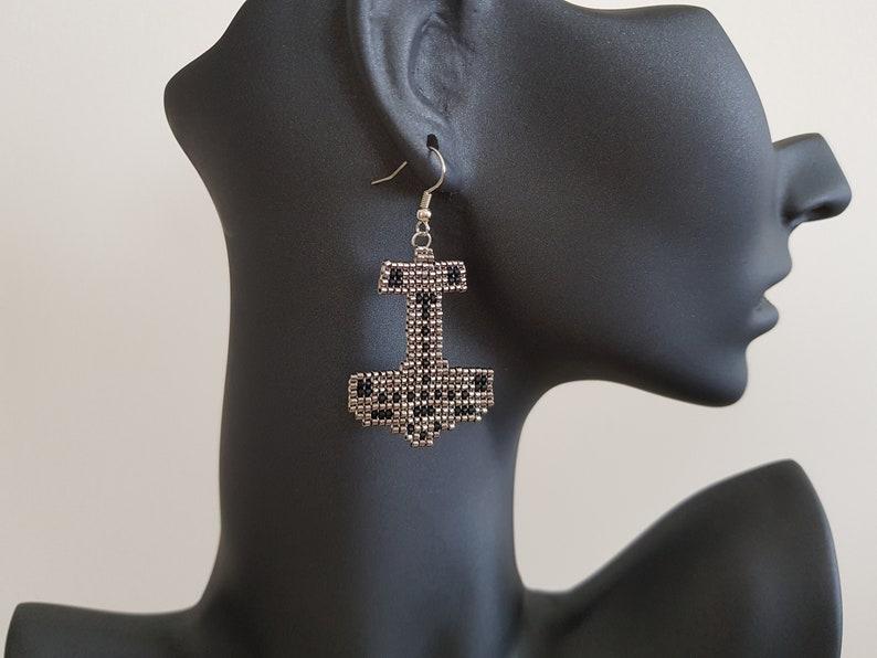 Thor's Hammer Earrings Viking Jewelry Mjolnir Earrings image 0