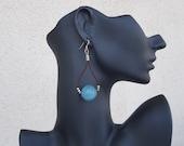 Blue Quartz Earrings, Leather Hoop Earrings, Blue Crystal Jewelry, Hoop Ball Earring, Agate Dangle, Leather Loop Dangle, Sphere Bead Dangle