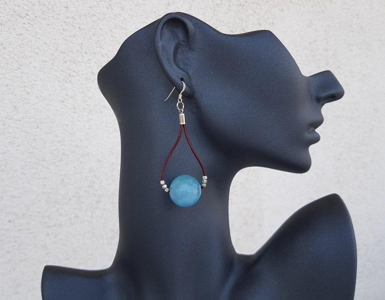 Blue Quartz Earrings Leather Hoop Earrings Blue Crystal image 0