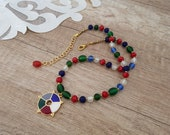 Multi Color Frosted Glass Beaded Necklace, Colorful Enamel Pendant, Mixed Color Statement Bohemian Jewelry, Self Gift, Birthday Gift For Her