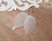 Real Leaf Earrings, Woodland Jewelry, Oversized Silver Earrings, Wedding Jewelry, Natural Leaves Dangle, Large Earrings, Birthday Gift Her