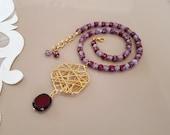 Burgundy Pink Glass Bead Jewelry Set, Wire Wrapped Pendant With Garnet, Bracelet Necklace Statement Set, January Birthstone Jewelry, Gift