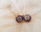 Ethnic Brass Earrings, Ball Boho Earrings, Bohemian Jewelry, Lapis Coral Earrings, Tibetan Jewelry, Gypsy Tribal Dangle Drop, Gift For Her