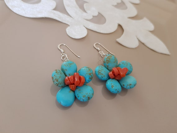 Contemporary New Tibetan Silver Turquoise Bead /& Cube Dangle Drop Earrings