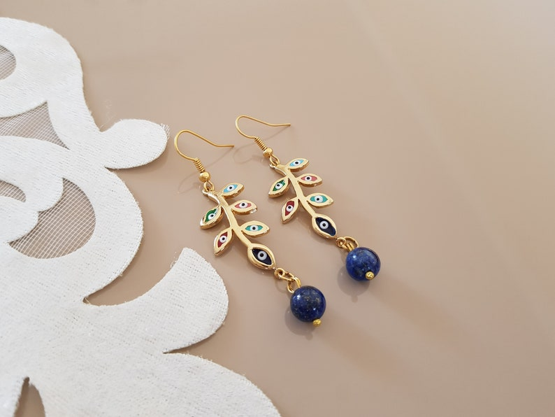Leaf Branch Earrings Evil Eye Jewelry Lapis Earrings Gold image 0