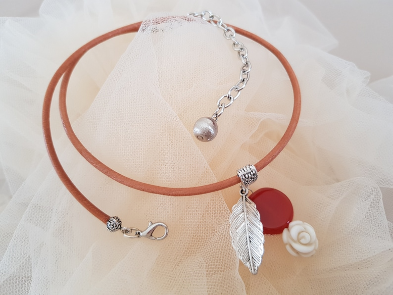 Brown Leather Choker Silver Leaf Necklace Gemstone Agate image 0