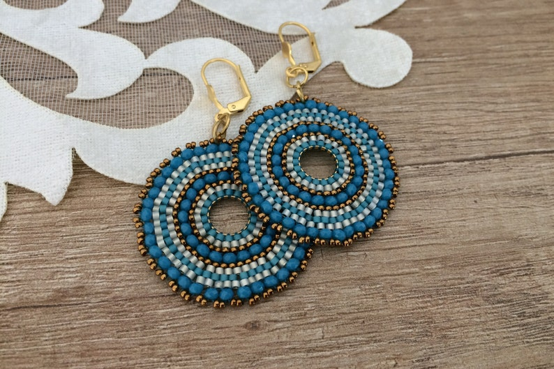 Beaded Circle Earrings Boho Blue Jewelry Hoop Dangle Seed image 0