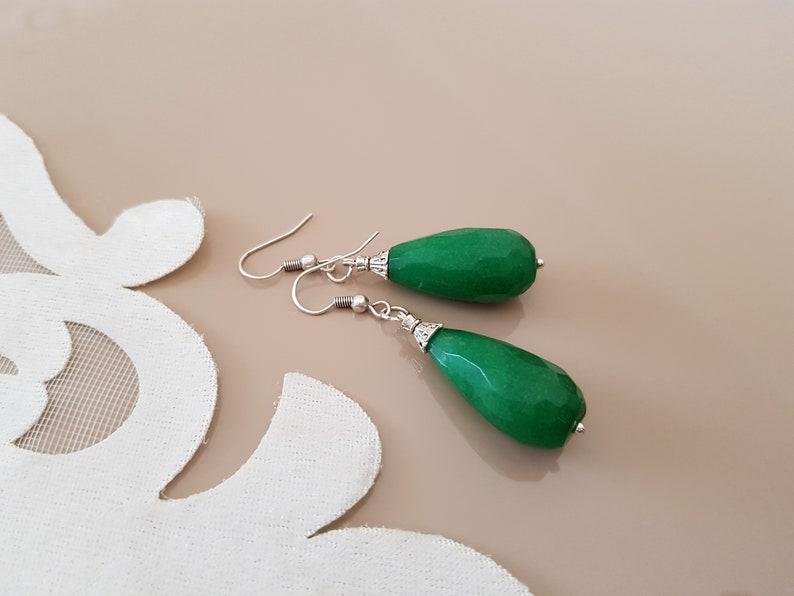 Emerald Drop Earrings Boho Teardrop Earrings Luxury Jewelry image 0